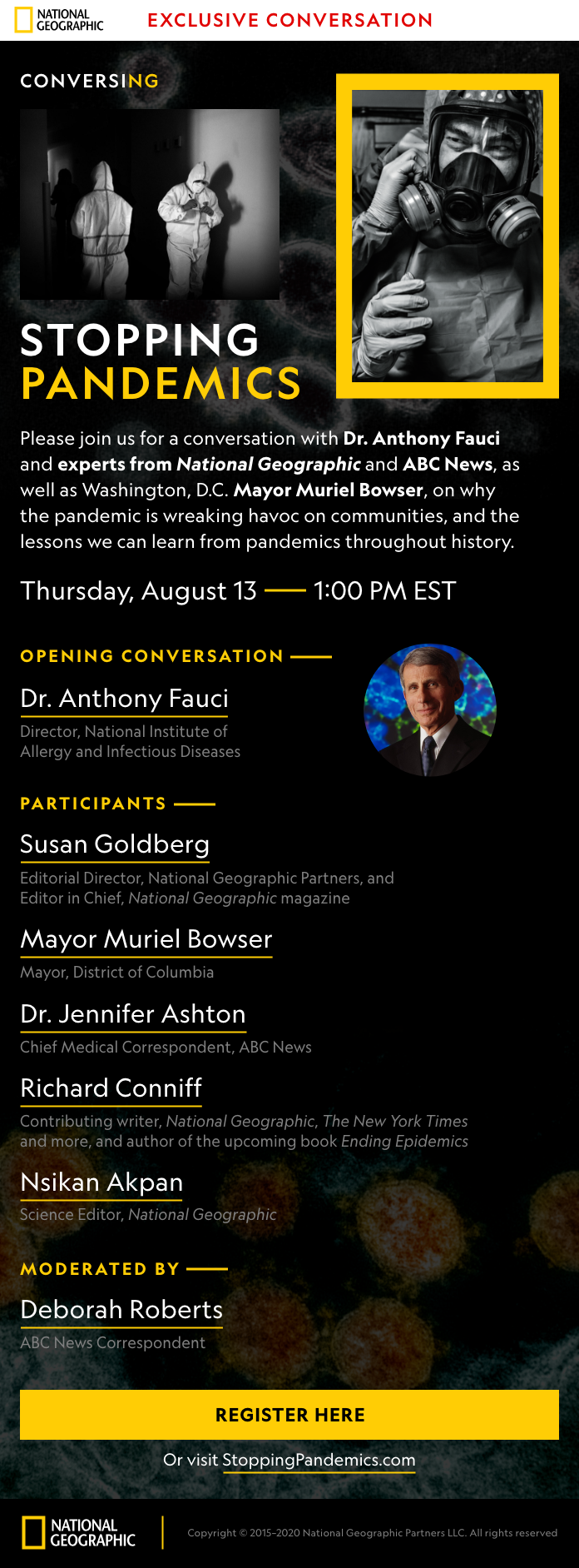 MEDIA ALERT: Exclusive Conversation with Dr. Anthony Fauci, Washington D.C. Mayor Muriel Bowser, ABC News Correspondents and National Geographic Experts