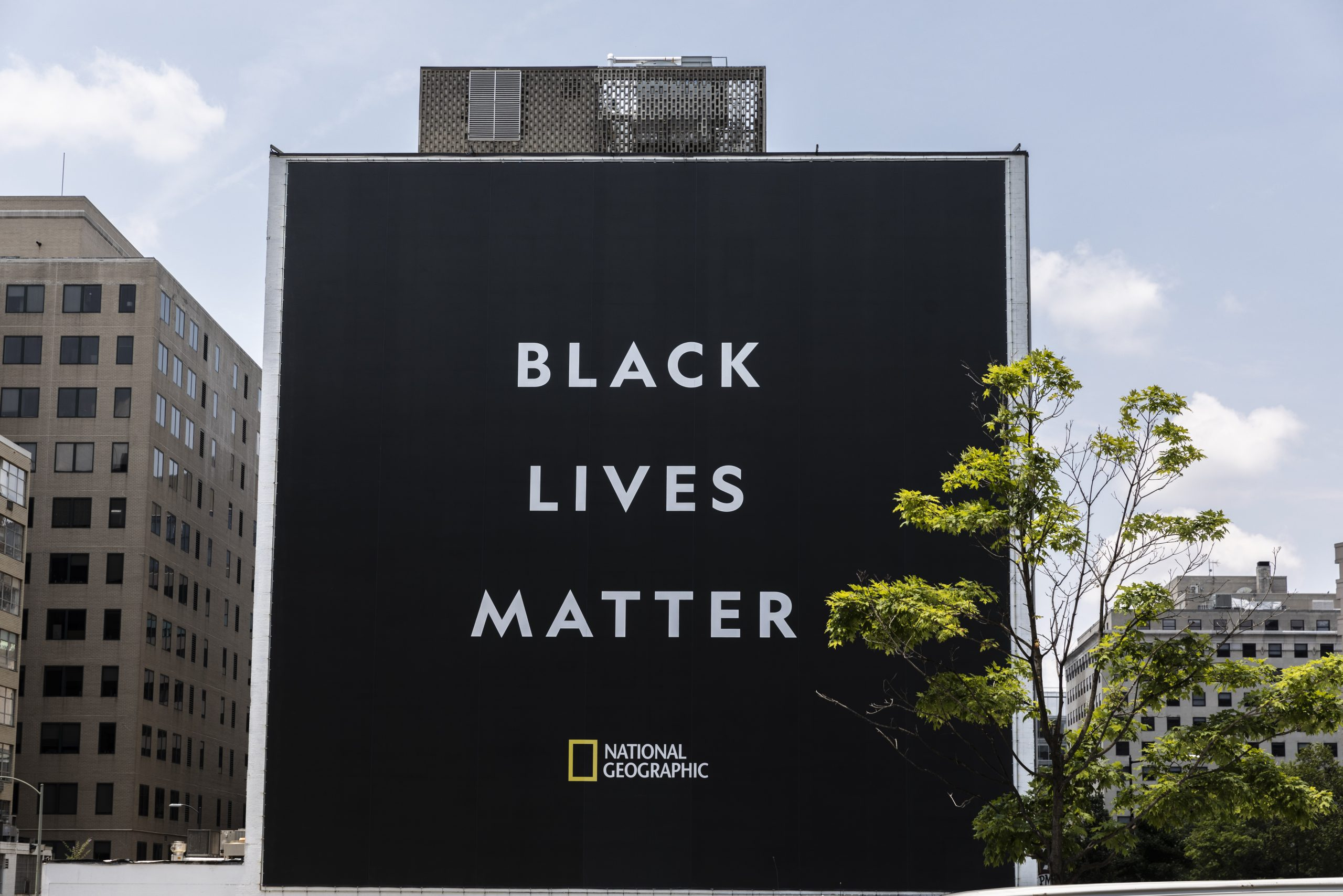 Black Lives Matter banner installed across from National Geographic HQ