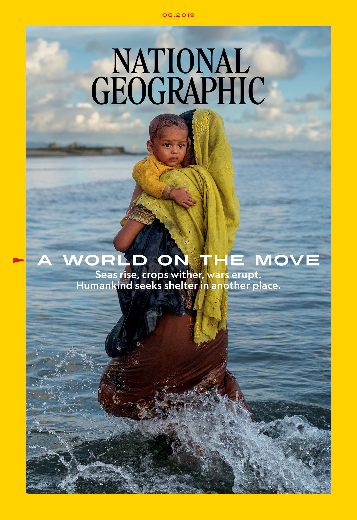 picture of a woman walking in water holding a baby surrounded by a yellow border