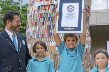 """National Geographic Kids and Toyota Set New Record for World's """"Largest Toilet-Paper-Roll Sculpture"""""""