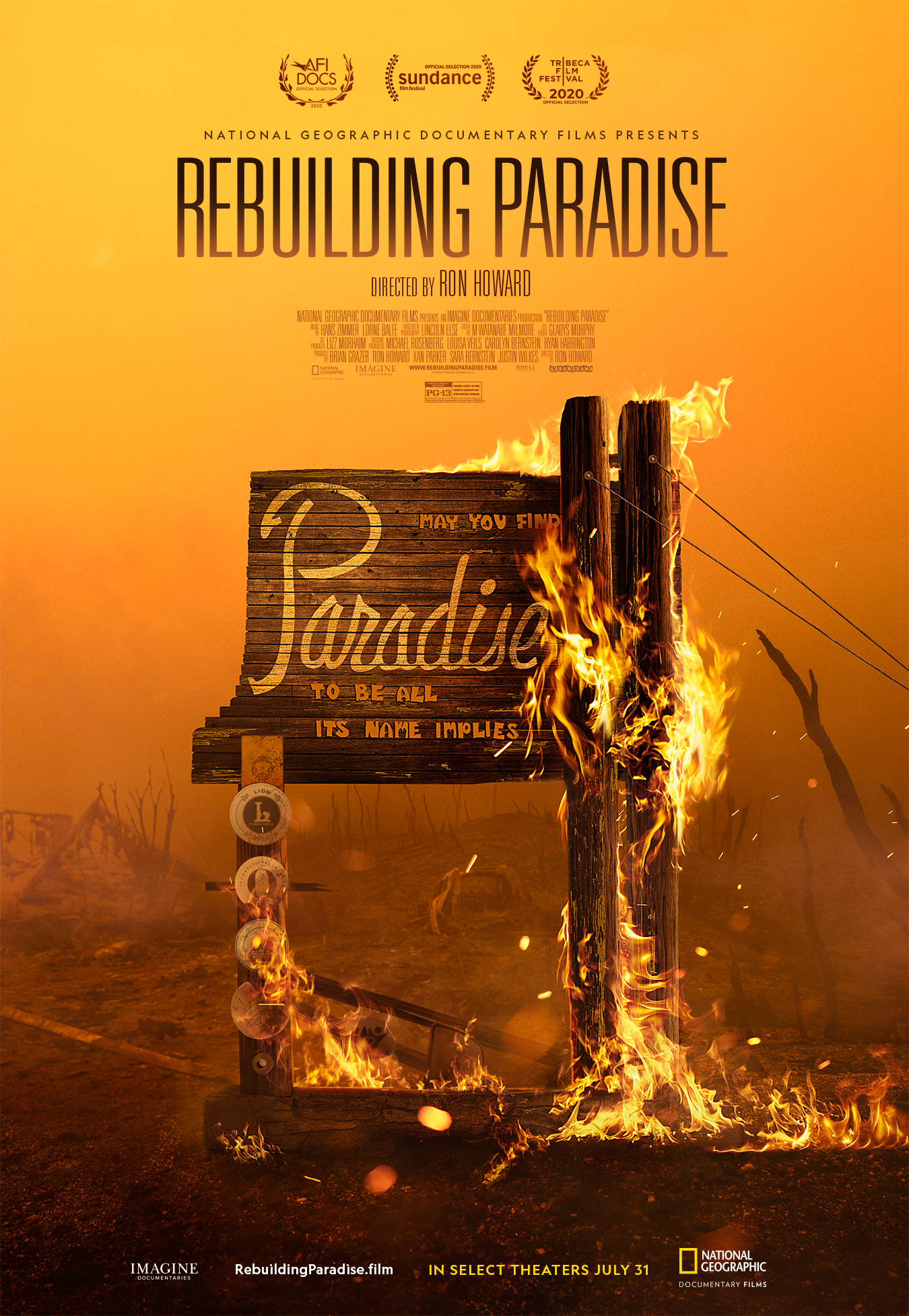 National Geographic Documentary Films Set To Release Academy Award-Winning Director Ron Howard's 'Rebuilding Paradise' In More Than 70 Markets Nationwide On July 31st
