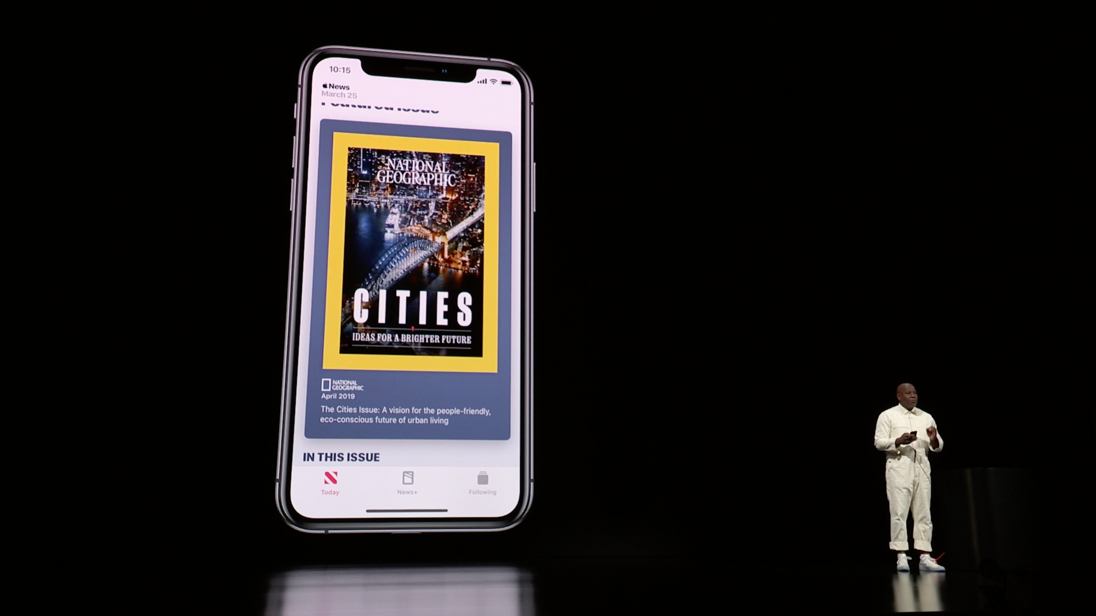 Photo of Wyatt Mitchell, Apple's director of application design, explaining live covers