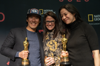 Chai Vasarhelyi and Jimmy Chin Celebrate Oscar Win with National Geographic Staff