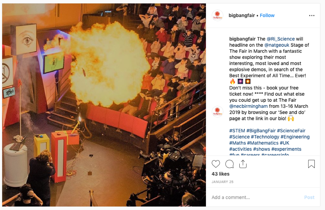 Photo of The Big Bang Fair Instagram Account