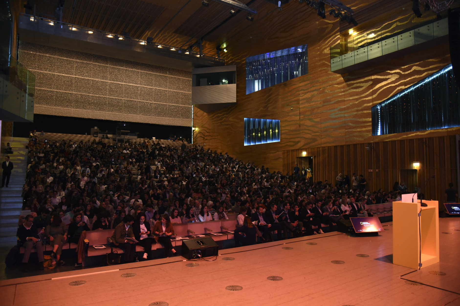 Photo of Packed audience in Casa da Música in Porto, Portugal for National Geographic Summit 2019.